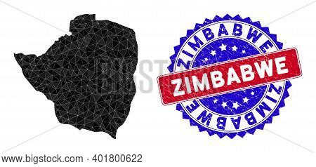 Zimbabwe Map Polygonal Mesh With Filled Triangles, And Grunge Bicolor Seal. Triangle Mosaic Zimbabwe