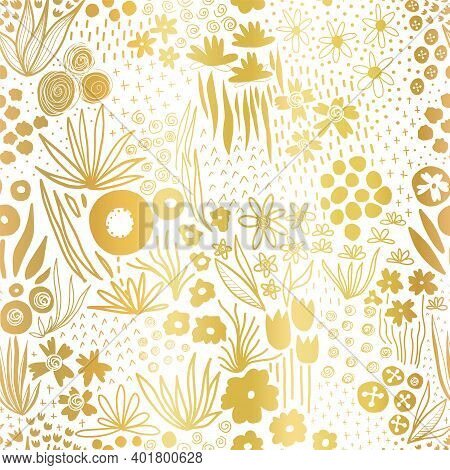 Metallic Gold Foil Flower Field On White Seamless Vector Pattern. Repeating Golden Liberty Doodle Fl