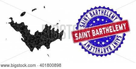 Saint Barthelemy Map Polygonal Mesh With Filled Triangles, And Distress Bicolor Stamp Imitation. Tri