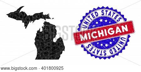Michigan State Map Polygonal Mesh With Filled Triangles, And Rubber Bicolor Stamp Seal. Triangle Mos