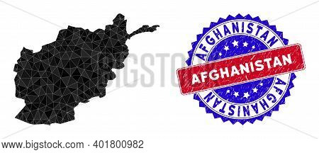 Afghanistan Map Polygonal Mesh With Filled Triangles, And Rubber Bicolor Rubber Seal. Triangle Mosai