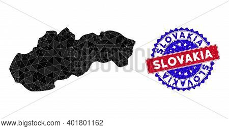 Slovakia Map Polygonal Mesh With Filled Triangles, And Scratched Bicolor Seal. Triangle Mosaic Slova