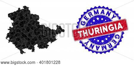 Thuringia Land Map Polygonal Mesh With Filled Triangles, And Scratched Bicolor Stamp Seal. Triangle