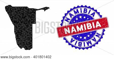 Namibia Map Polygonal Mesh With Filled Triangles, And Unclean Bicolor Stamp Seal. Triangle Mosaic Na