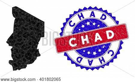 Chad Map Polygonal Mesh With Filled Triangles, And Scratched Bicolor Rubber Seal. Triangle Mosaic Ch