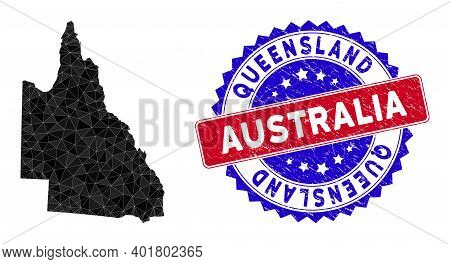 Australian Queensland Map Polygonal Mesh With Filled Triangles, And Distress Bicolor Stamp Print. Tr