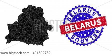 Belarus Map Polygonal Mesh With Filled Triangles, And Grunge Bicolor Rubber Seal. Triangle Mosaic Be