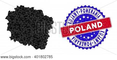 Kujawy-pomerania Province Map Polygonal Mesh With Filled Triangles, And Distress Bicolor Rubber Seal