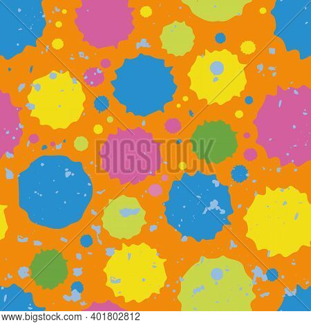 Holi Festival Inspired Paint Spatter Circles Seamless Vector Pattern Background. Irregular Tropical