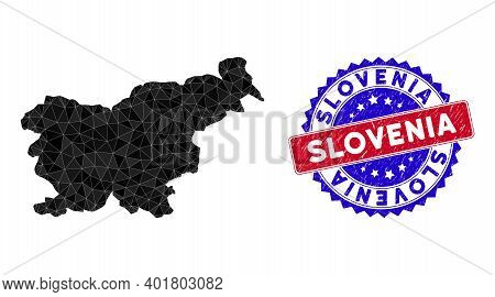 Slovenia Map Polygonal Mesh With Filled Triangles, And Unclean Bicolor Stamp Print. Triangle Mosaic