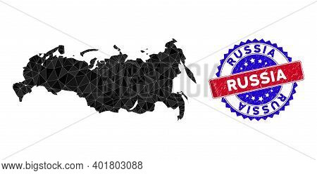 Russia Map Polygonal Mesh With Filled Triangles, And Rough Bicolor Watermark. Triangle Mosaic Russia