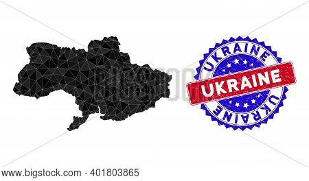 Ukraine Map Polygonal Mesh With Filled Triangles, And Textured Bicolor Rubber Seal. Triangle Mosaic