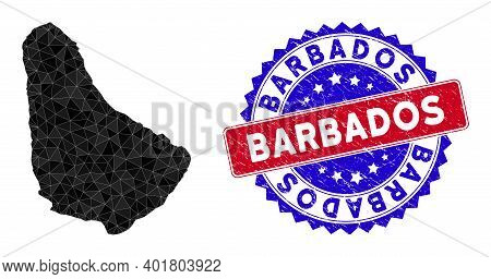 Barbados Map Polygonal Mesh With Filled Triangles, And Textured Bicolor Stamp Seal. Triangle Mosaic