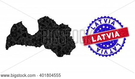 Latvia Map Polygonal Mesh With Filled Triangles, And Unclean Bicolor Watermark. Triangle Mosaic Latv