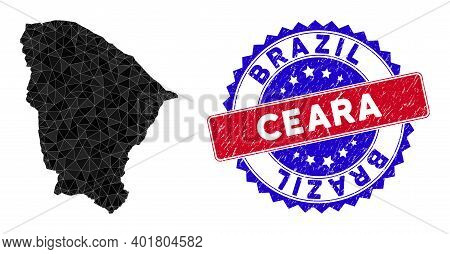 Ceara State Map Polygonal Mesh With Filled Triangles, And Rough Bicolor Stamp. Triangle Mosaic Ceara