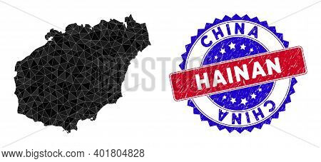 Hainan Island Map Polygonal Mesh With Filled Triangles, And Rubber Bicolor Stamp Seal. Triangle Mosa