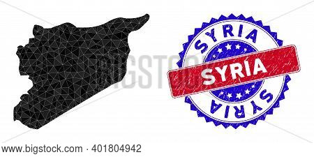 Syria Map Polygonal Mesh With Filled Triangles, And Grunge Bicolor Stamp Imitation. Triangle Mosaic