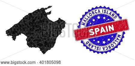 Spain Mallorca Island Map Polygonal Mesh With Filled Triangles, And Unclean Bicolor Stamp Print. Tri