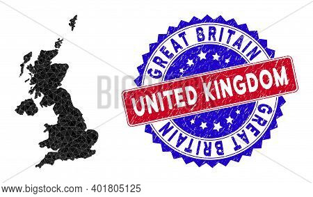 United Kingdom Map Polygonal Mesh With Filled Triangles, And Scratched Bicolor Watermark. Triangle M