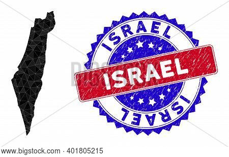 Israel Map Polygonal Mesh With Filled Triangles, And Textured Bicolor Stamp Seal. Triangle Mosaic Is