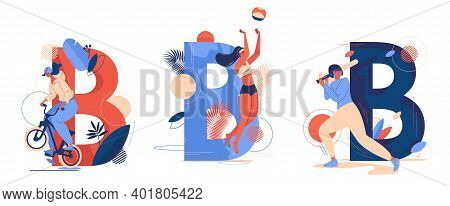 Various Sport Activities With Capital Letter B On Background. Concept Scenes With Women Training Bas