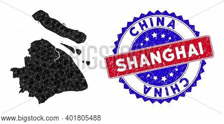 Shanghai City Map Polygonal Mesh With Filled Triangles, And Rubber Bicolor Seal. Triangle Mosaic Sha