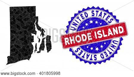 Rhode Island State Map Polygonal Mesh With Filled Triangles, And Distress Bicolor Stamp Seal. Triang