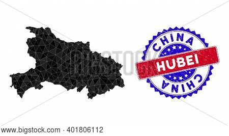 Hubei Province Map Polygonal Mesh With Filled Triangles, And Rubber Bicolor Stamp Seal. Triangle Mos