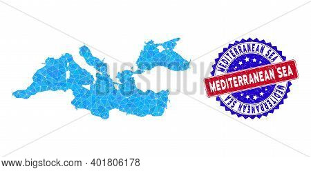 Mediterranean Sea Map Polygonal Mesh With Filled Triangles, And Grunge Bicolor Stamp Seal. Triangle