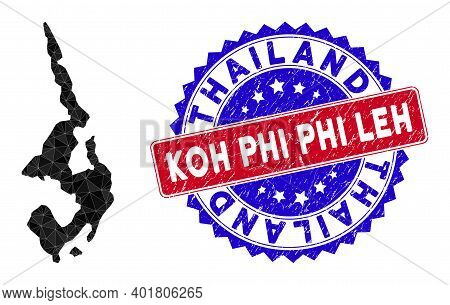 Koh Phi Leh Map Polygonal Mesh With Filled Triangles, And Scratched Bicolor Stamp Seal. Triangle Mos