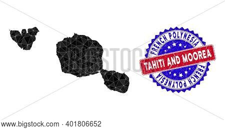 Tahiti And Moorea Islands Map Polygonal Mesh With Filled Triangles, And Grunge Bicolor Stamp Seal. T