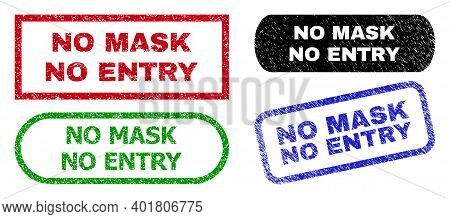No Mask No Entry Grunge Seal Stamps. Flat Vector Grunge Seal Stamps With No Mask No Entry Message In