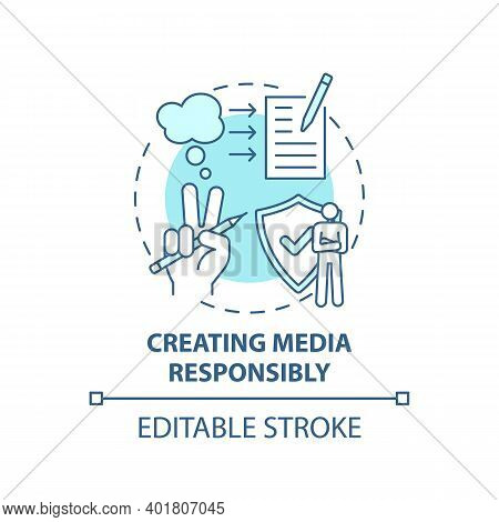 Creating Media Responsibility Concept Icon. Accuracy And Truth Idea Thin Line Illustration. Expressi