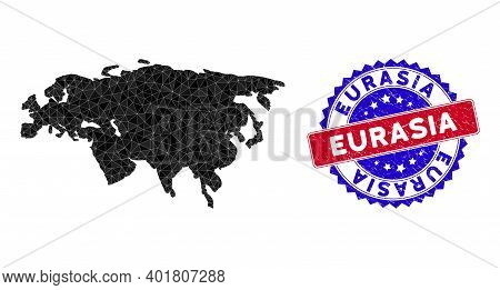 Eurasia Map Polygonal Mesh With Filled Triangles, And Rubber Bicolor Stamp Seal. Triangle Mosaic Eur