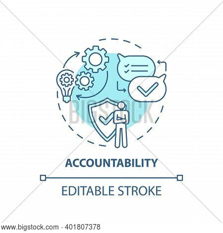 Accountability Concept Icon. Journalistic Ethics Standards Idea Thin Line Illustration. Accepting Cr