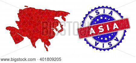 Asia Map Polygonal Mesh With Filled Triangles, And Distress Bicolor Stamp Print. Triangle Mosaic Asi