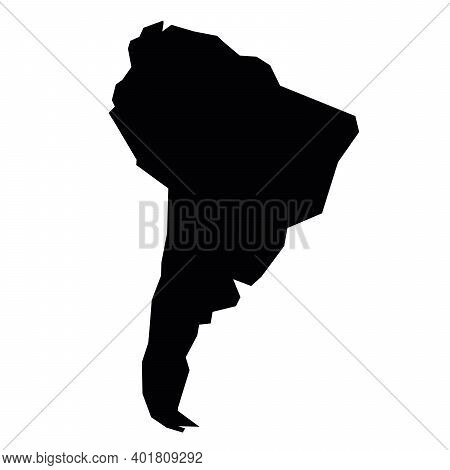 South America Black Silhouette. Contour Map Of Continent. Simple Flat Vector Illustration.