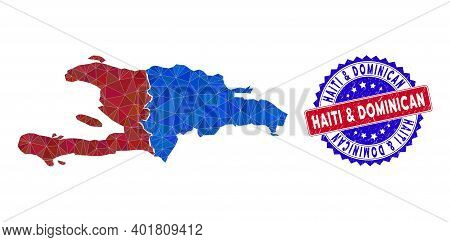 Haiti And Dominican Republic Map Polygonal Mesh With Filled Triangles, And Grunge Bicolor Watermark.