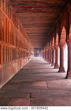View Of Red Corridor, Part Of Taj Mahal Complex, Agra, India