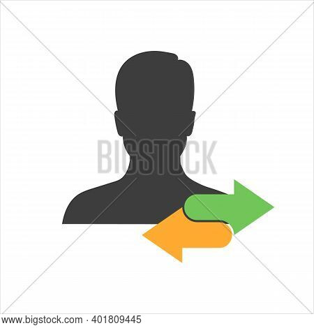 Employee Or People Replacement Or Swap Position Concept Line And Solid Icon For Business Management