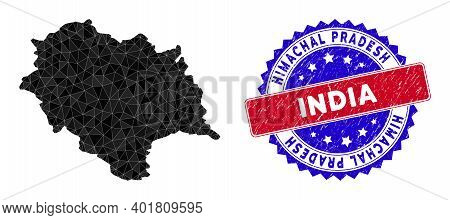Himachal Pradesh State Map Polygonal Mesh With Filled Triangles, And Rough Bicolor Stamp Seal. Trian
