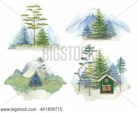 Mountain Landscape Set. Watercolor Forest House. Nature Travel