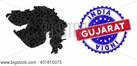Gujarat State Map Polygonal Mesh With Filled Triangles, And Unclean Bicolor Stamp Seal. Triangle Mos