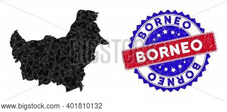 Borneo Map Polygonal Mesh With Filled Triangles, And Rubber Bicolor Rubber Seal. Triangle Mosaic Bor