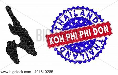 Koh Phi Don Map Polygonal Mesh With Filled Triangles, And Grunge Bicolor Stamp Imitation. Triangle M