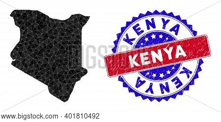 Kenya Map Polygonal Mesh With Filled Triangles, And Grunge Bicolor Rubber Seal. Triangle Mosaic Keny