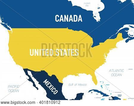 Usa Map - Brown Orange Hue Colored On Dark Background. High Detailed Political Map United States Of
