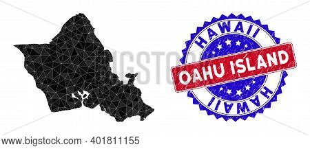 Oahu Island Map Polygonal Mesh With Filled Triangles, And Distress Bicolor Stamp Seal. Triangle Mosa