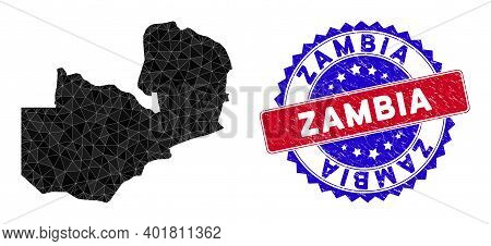 Zambia Map Polygonal Mesh With Filled Triangles, And Scratched Bicolor Stamp. Triangle Mosaic Zambia