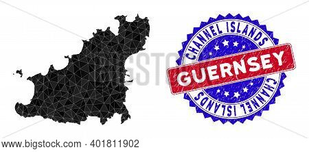 Guernsey Island Map Polygonal Mesh With Filled Triangles, And Distress Bicolor Seal. Triangle Mosaic